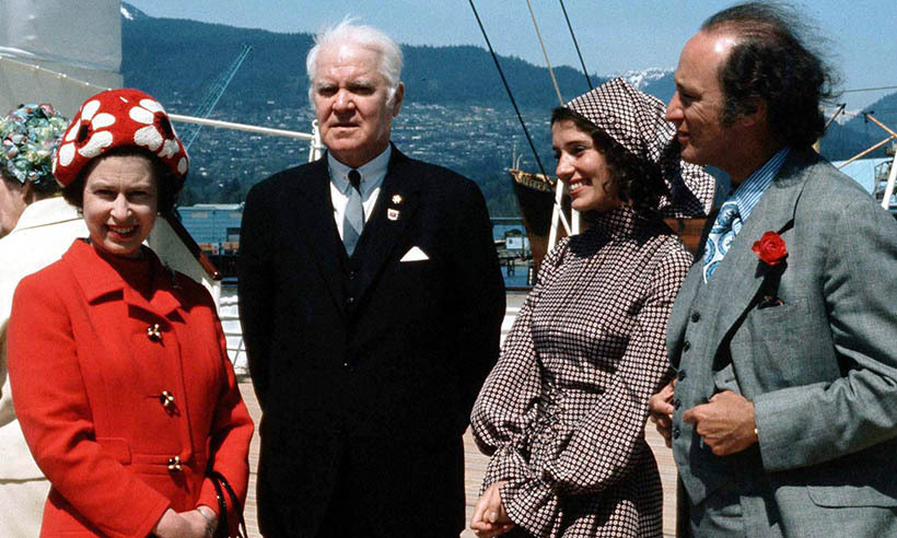 <p>Queen Elizabeth and Pierre and Margaret Trudeau with B.C. Lt.-Gov. John Nicholson during their visit to Victoria in 1971.</p>