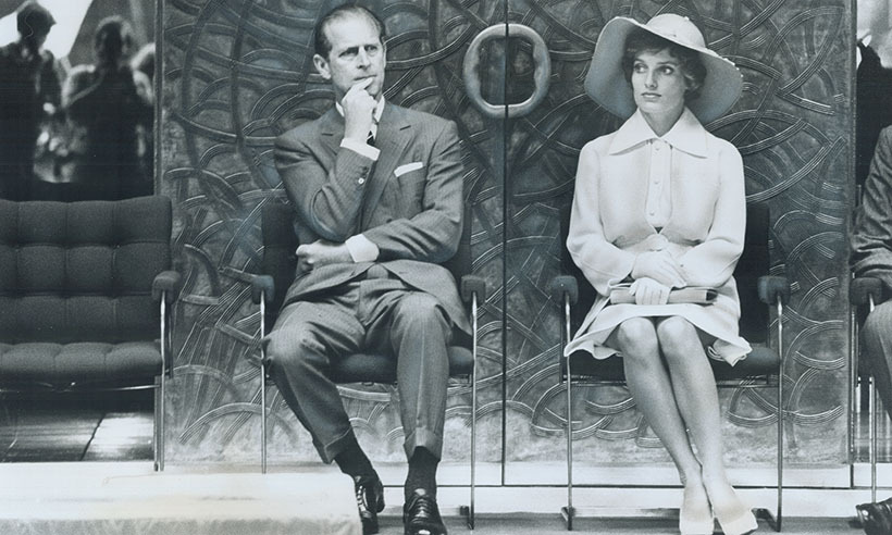 <p>In 1973, Margaret Trudeau, pictured here with Prince Philip, watched the Queen open the Lester B. Pearson External Affairs building in Ottawa.</p>
