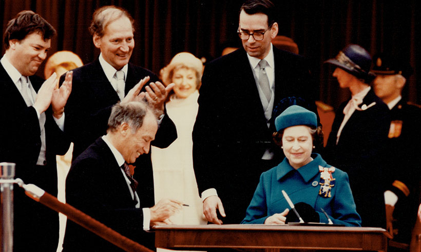 <p>Pierre Trudeau and the Queen signed the 1982 Charter of Rights in Ottawa.</p>