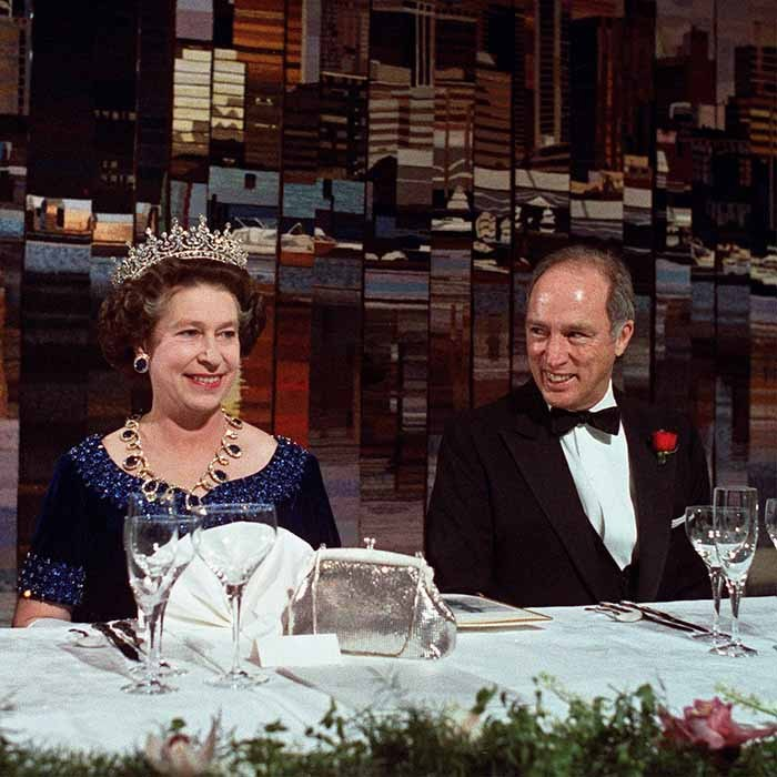 <p>Pierre Trudeau hosted a dinner in the Queen's honour during the monarch's visit to Vancouver in 1983.</p>