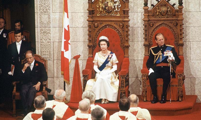 <p>Prime Minister Trudeau, Queen Elizabeth and Prince Philip attended the opening of parliament in 1977.</p>