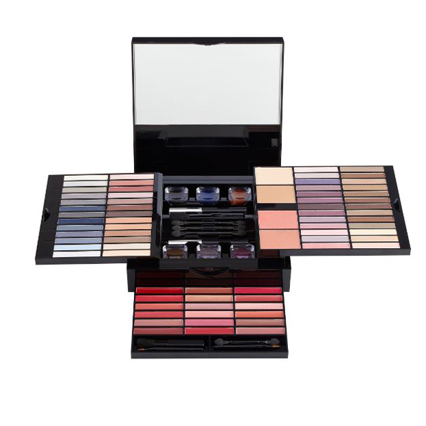<p>It's no wonder the brand has dubbed this holiday set its top pick of the season! Three shelves and a drawer pack 52 shadows, six potted eyeliners, 18 lip glosses, four blushes, a liquid eyeliner, a mascara and nine applicators into a shiny box with a pretty gilded pattern.</p>