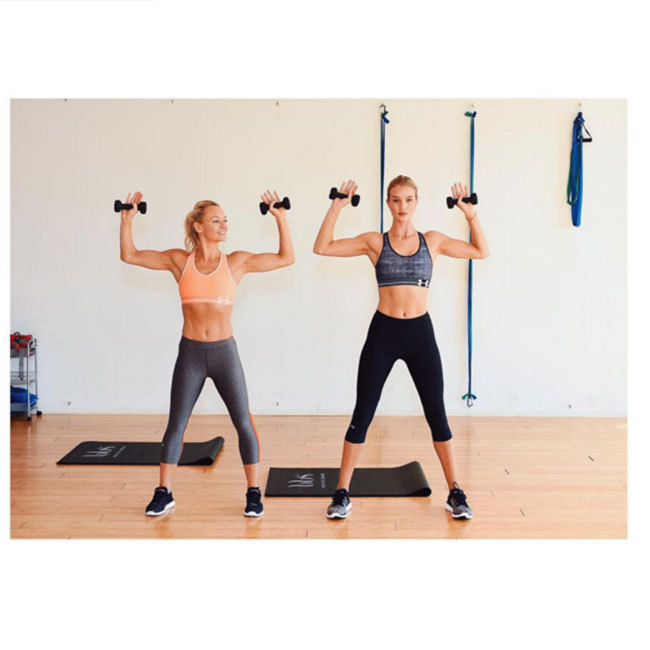 Rosie Huntington-Whiteley keeps fit with a wide range of exercises from toning up using weights to dance classes for cardio. (@rosiehw)