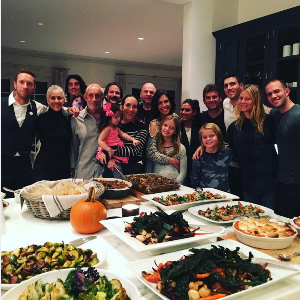 "Thanksgiving is all about family time in the Martin-Paltrow household. ""Happy Thanksgiving from us to you!"" wrote Gwyneth.