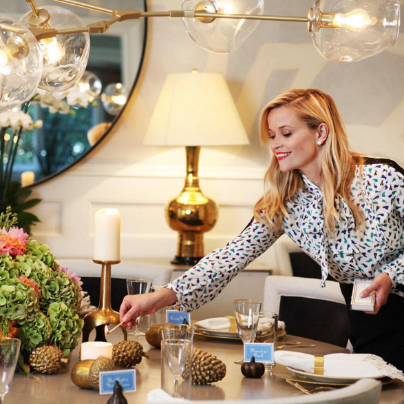 "Reese put together such a beautiful table setting for the big day. ""#HappyThanksgivingYall #LetsEat #SoMuchToBeThankfulFor @draperjamesgirl @a2btable""