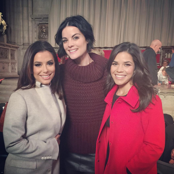 America Ferrera celebrated at the Macy's Thanksgiving Day parade with Eva Longoria and Jaimie Alexander.