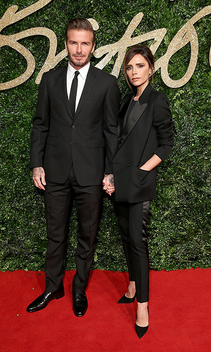 In a more refined version of their matching leather ensembles in 1999, David and Victoria Beckham showed how chic a couple can be. The fashion designer dressed head to toe in her own label with her Burberry-clad hubby by her side at the 2015 British Fashion Awards. 