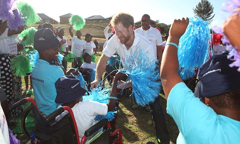 <p>Prince Harry receives a warm welcome from excited children in Maeru, Lesotho.</p>