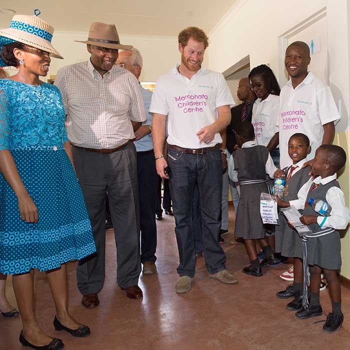 <p>Prince Harry and King Letsie III of Lesotho tour the new facility.</p>