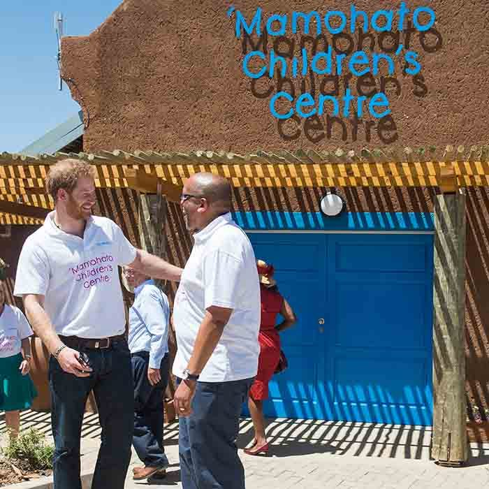 <p>Harry prepares to open the new Mamohato Children's Centre.<p>