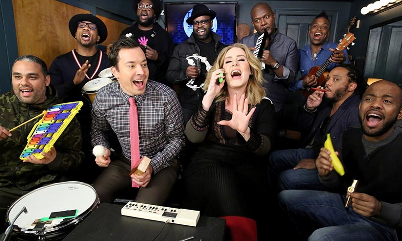 "<p> Adele's smash hit ""Hello"" gets the iconic ""classroom instrument"" treatment during a segment on <em>The Tonight Show Starring Jimmy Fallon</em>.<p>