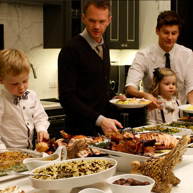 <p>Neil Patrick Harris and kids Gideon and Harper dig into a feast prepared by David Burtka.</p>