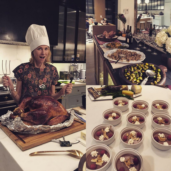 "<p> What a spread! ""Happy Thanksgiving everyone!! Wish I could say I cooked this bird... But instead, I cheated and stole hat from son's dress up box. I did make the chocolate mousse though! Meal was amazing- thanks to the fantastic @tolyaashe #grateful #thanksgiving #goodtimes</p>