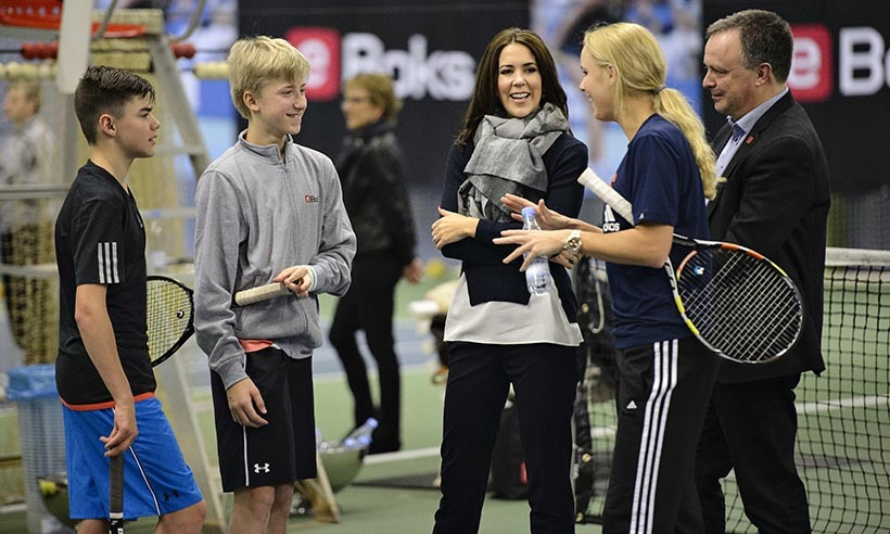 <p> Crown Princess Mary of Denmark aces a tennis lesson with professional player Caroline Wozniacki during Children's Aid Day in Denmark. </p>
