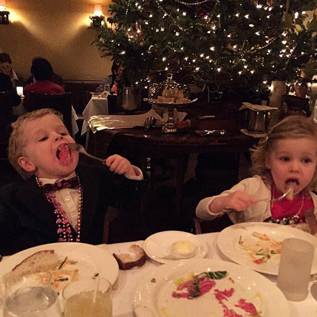 "<p>""Christmas Eve dinner at Babbo. Traditional Feast of the Seven Fishes. Delicious! Gideon and Harper are in holiday heaven. Thanks, Mario. #joy""</p>