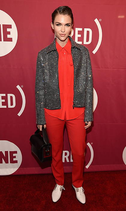 Ruby Rose rocked a perfectly festive, head-to-toe red ensemble with a tinsel-worthy topper by Costume National for the (RED) Concert to mark World AIDS Day in New York. 