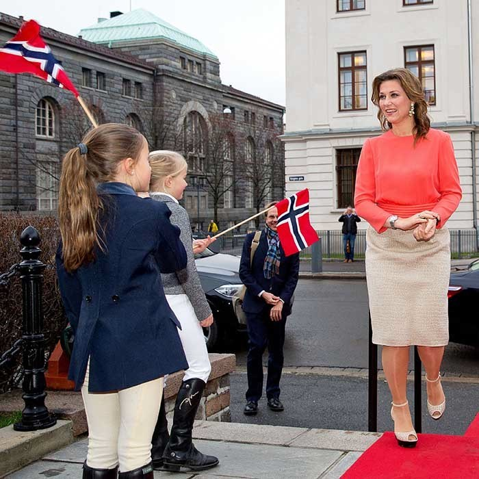 <p>Princess Martha Louise looked lovely in coral at the 100th anniversary of the Norwegian Equestrian Federation in Oslo, Norway.</p>