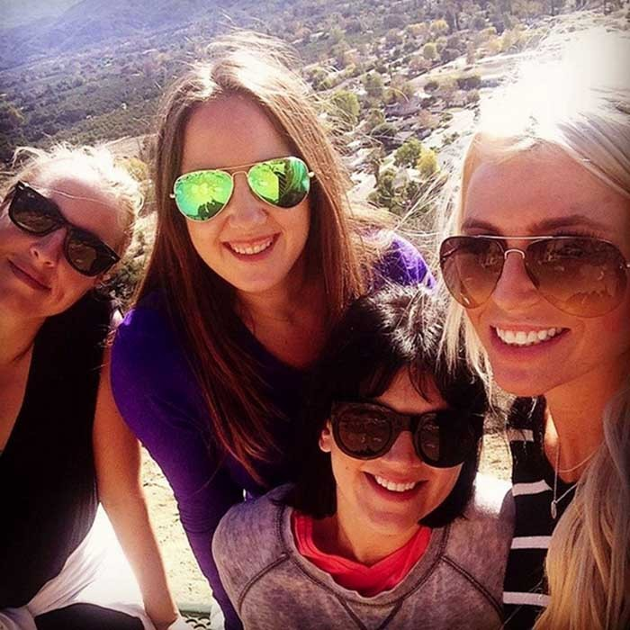 "<p>Princess Theodora of Greece (C, in purple) enjoys a hike with some friends. ""Hiking in beautiful Ojai,"" wrote the royal on Instagram.</p>