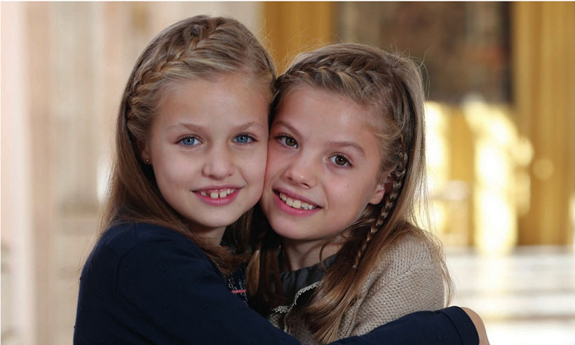 <p>Adorable sisters Princess Leonor, 10, and eight-year-old Princess Sofia of Spain are featured on their family's Christmas card. </p>