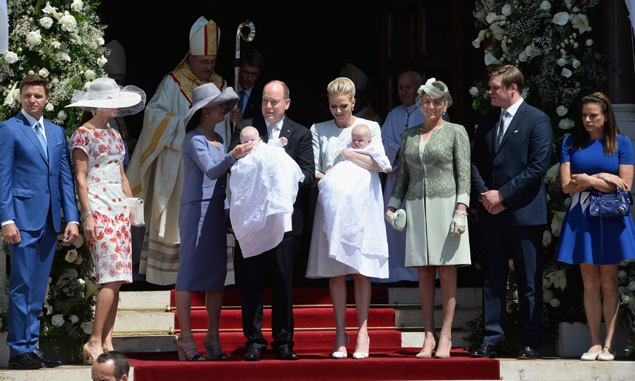 From left: The couple were joined by Princess Charlene's brother Gareth Wittstock, Nerine Pienaar, Albert's sister Princess Caroline, family friend Diane de Polignac Nigra, the Prince's American cousin Christopher Le Vine Jr and other sister Princess Stephanie.