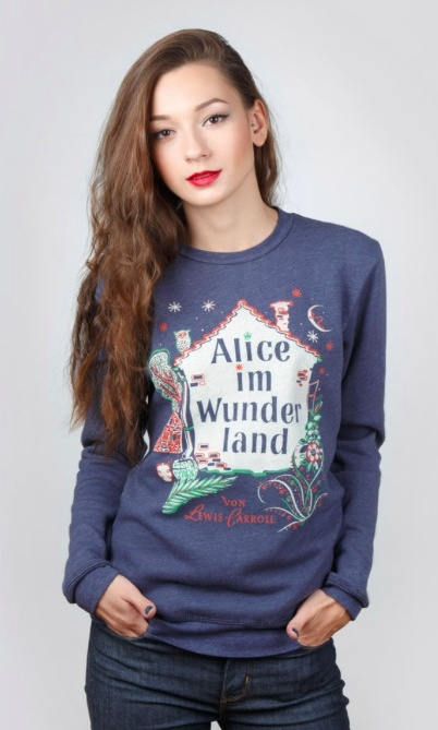 "<p>Books for Africa Alice in Wonderland German sweatshirt, $42, <a target=""_blank"" href=""https://www.outofprintclothing.com/collections/alice-in-wonderland/products/alice-im-wunderland-unisex-long-sleeve-fleece""> outofprintclothing.com</a>.</p>