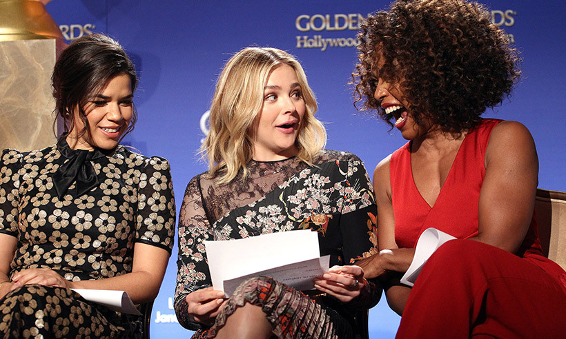 <p>A 5:30am call time couldn't shake the excitement level of actresses America Ferrara, Chloë Grace Moretz and Angela Bassett, who announced this year's Golden Globe nominations live from Beverly Hills.</p>