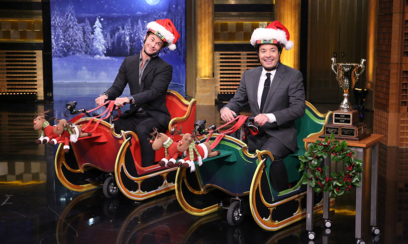 <p>And they're off! Santa's got nothing on Jimmy Fallon and Chris Hemsworth, who faced off in a festive sleigh-scooter race on <i>The Tonight Show</i>.</p>