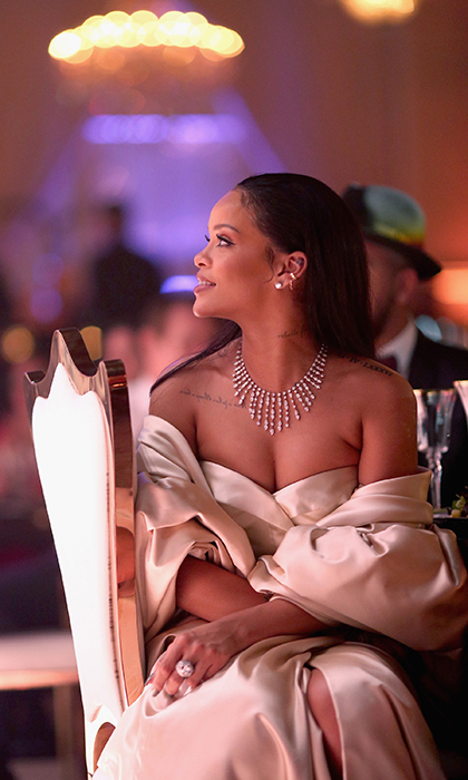 <p>Rihanna was a vision in champagne Dior Couture at her second annual Diamond Ball in Santa Monica.</p>