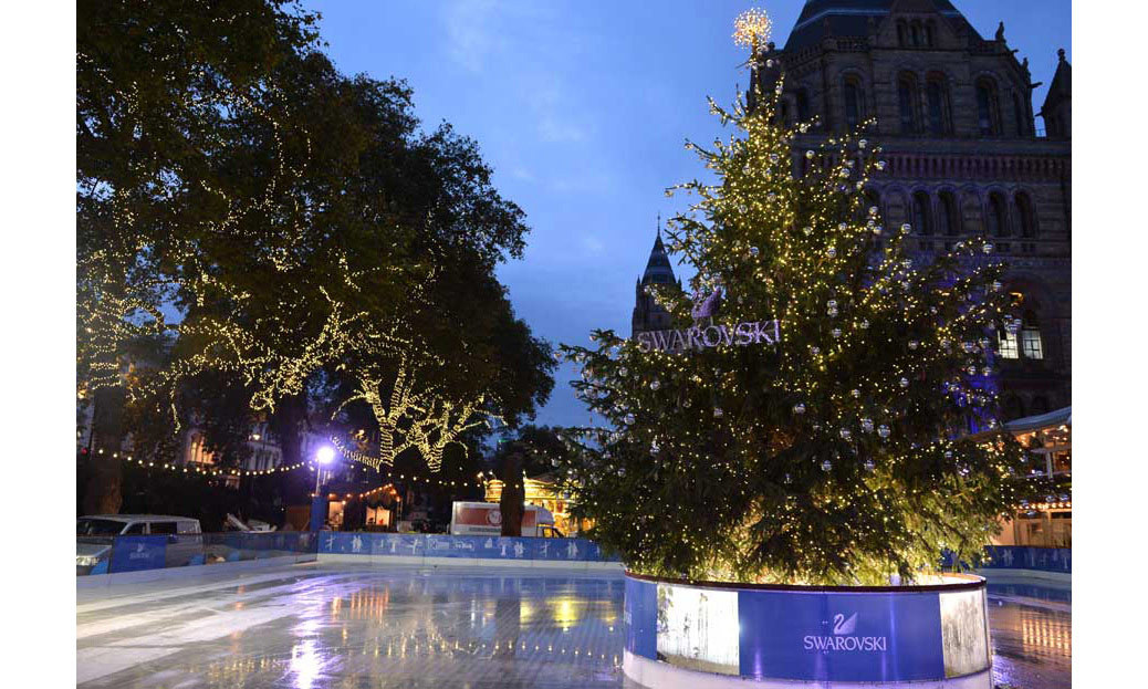 The Christmas tree at the Natural History Museum's ice rink has been decorated by Swarovski, who have splashed out on 2,000 Swarovski ornaments and 80,000 fairy lights. It's little wonder it has been valued as one of the most expensive in London, valued at about $208,000.