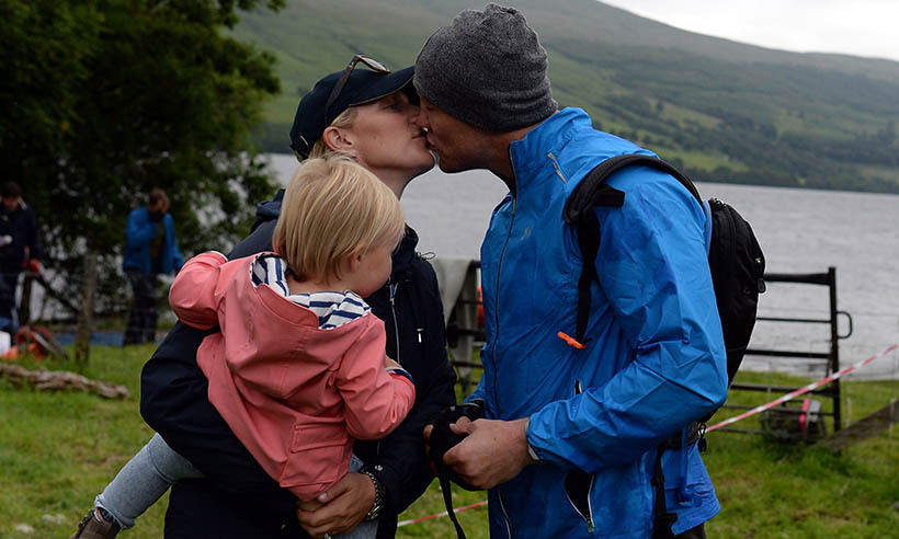 <p>Former rugby star Mike Tindall received some loving support from his wife, Zara, and their daughter Mia before setting off on the Artemis Great Kindrochit Quadrathlon in Scotland. It took Mike 13 hours and 50 minutes to complete the 90-km trek.</p>
