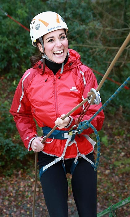 <p>A sporty Duchess of Cambridge tried her hand at abseiling during a visit to North Wales. After a briefing session, Kate, who giggled a bit when asked if it was her first time, let go of her fears and successfully made her way down the 12-metre climbing wall while her husband, Prince William, looked on.</p>