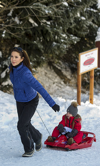 <p>Princess Josephine of Denmark hitched a ride with mom Princess Mary during the Danish royal family's annual skiing photo call in Switzerland.</p>