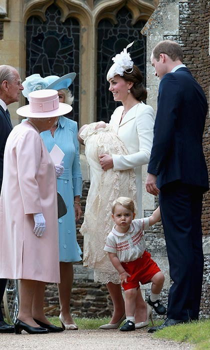 <p>It might have been his baby sister's big day but Prince George stole the show at Princess Charlotte's baptism on July 5. The toddler mugged and danced for onlookers while his parents and grandparents revelled in the special occasion.</p>