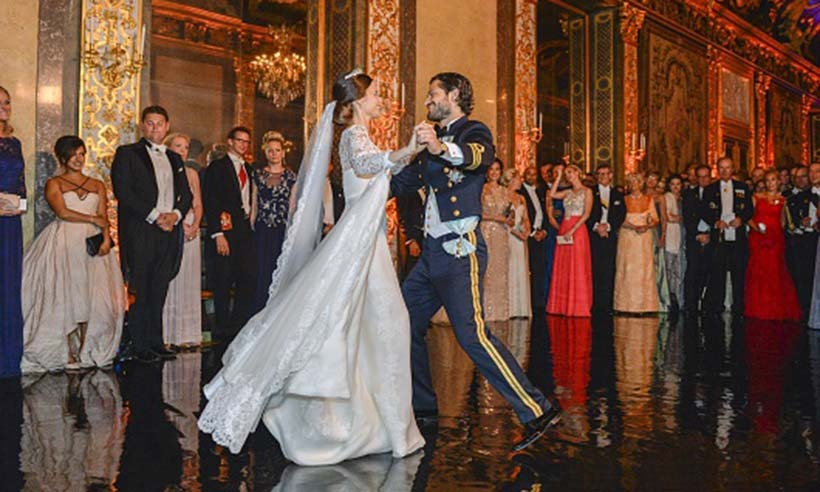 <p>Newlyweds Prince Carl Philip and Princess Sofia share their first dance following their lavish and romantic wedding ceremony on June 13 in Stockholm.</p>