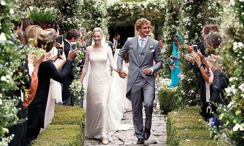 <p>The love between Pierre Casiraghi and Beatrice Borromeo couldn't be contained in one wedding ceremony. Instead, the couple tied the knot twice, once during a civil ceremony in Monaco followed by a private affair, seen here, on Beatrice's family-owned Borromean islands in Italy.</p>