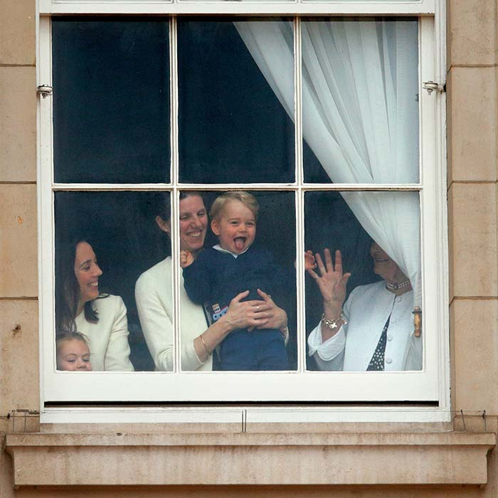 <p>Reminiscent of his uncle, Prince Harry, two-year-old Prince George had his own silly face moment while watching Trooping the Colour at Buckingham Palace.</p>