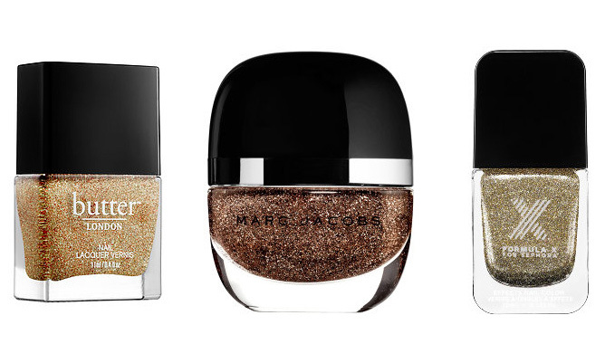 "Skip jewels and opt for a brushed metallic manicure in shades of champagne, copper and gold. <strong>Butter London Nail Lacquer in Lushington</strong>, $18, <a href=""http://butterlondon.ca"" target=""_blank"">butterlondon.ca</a></p>