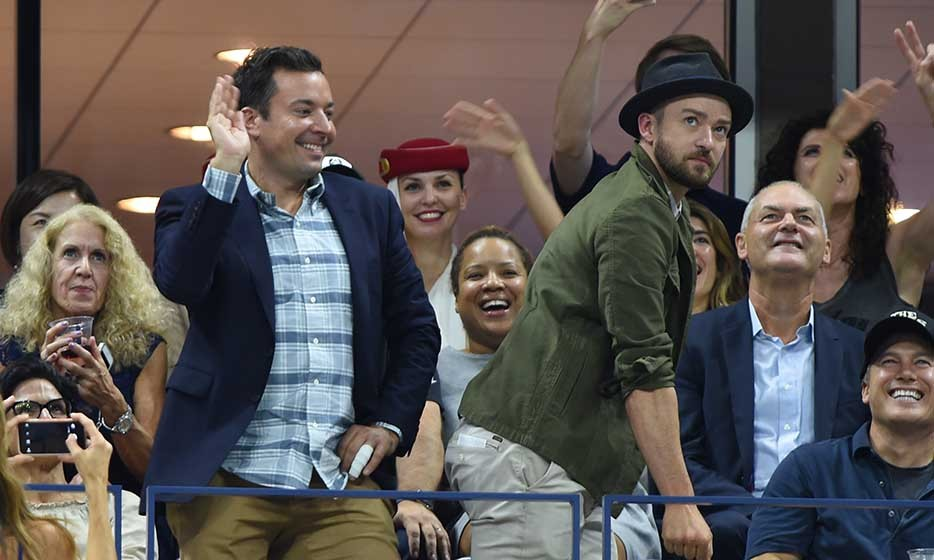 Jimmy Fallon and Justin Timberlake broke out their best Beyoncé moves during a break in play at the US Open in September.