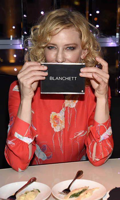 Oscar winner Cate Blanchett found her spot at the Armani and Cinema Society Screening after-party for her dramatic feature <i>Truth</i>. 