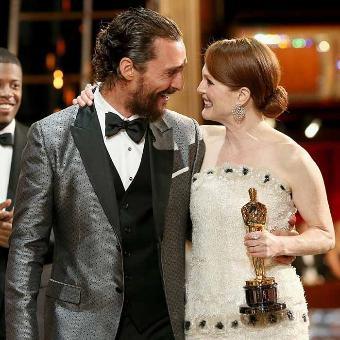 Best Actress winner Julianne Moore received a warm congratulations from fellow Oscar winner Matthew McConaughey at this year's Academy Awards.