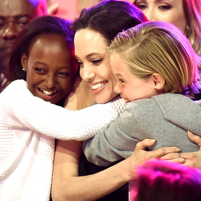 Angelina Jolie was showered in love from her daughters, Zahara and Shiloh, at Nickelodeon's Kids Choice Awards in February. 