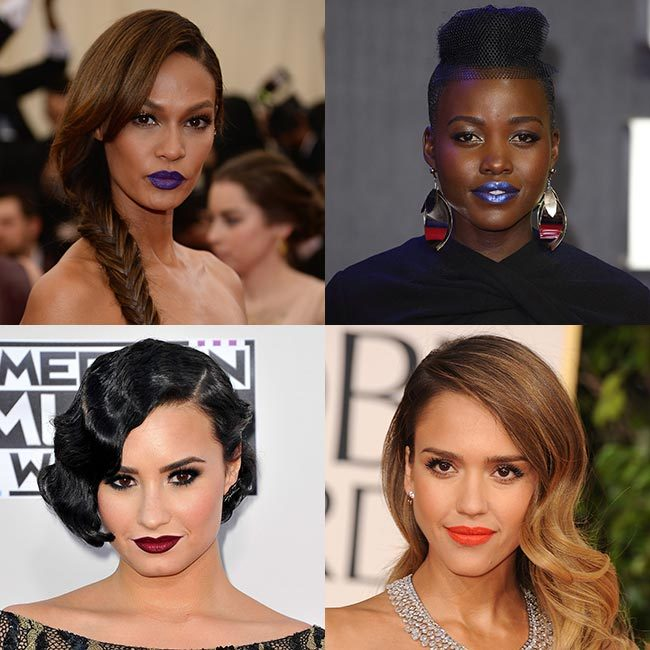 From <strong>Lupita Nyong'o</strong>'s metallic blue lips at the <em>Star Wars</em> premiere to <strong>Joan Smalls</strong>' bold purple pout at the Met Gala, we took a look at the boldest celebrity lipstick looks for edgy beauty inspiration – click through for the full gallery&#133;
