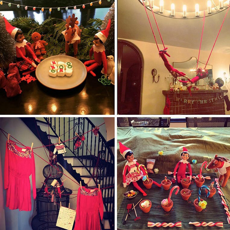 Busy Philipps' elves sure know how to have a good time. The actress, who is mom to two daughters Birdie and Cricket, shared a series of photos featuring her friends enjoying a game of tic-tac-toe, swinging from the ceiling and of course helping with her wardrobe.