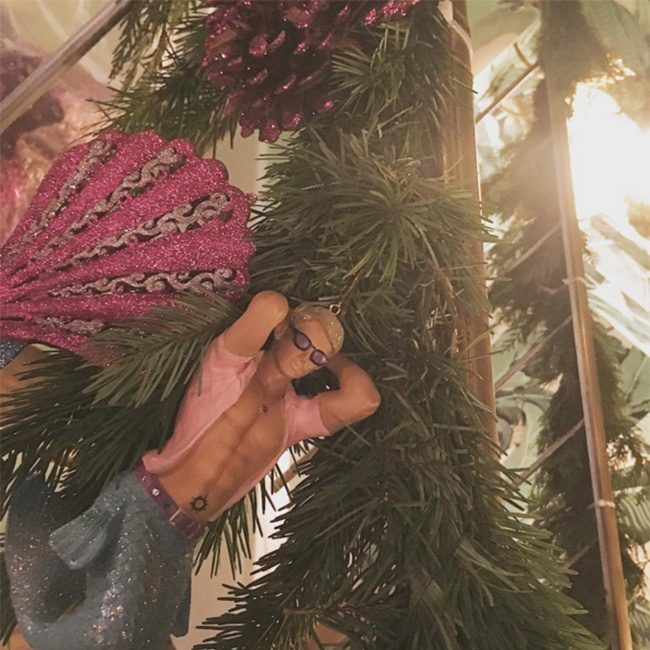 Only Lady Gaga would have the wackiest Christmas decorations in her house.