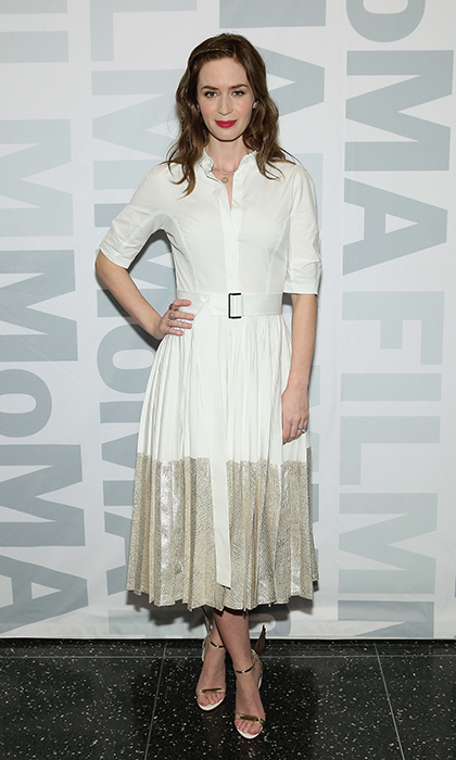 Emily Blunt was a winter-white vision in Lela Rose at MoMA Film's The Contenders's screening of 'Sicario.' Simple gold sandals anchored the elegant look.