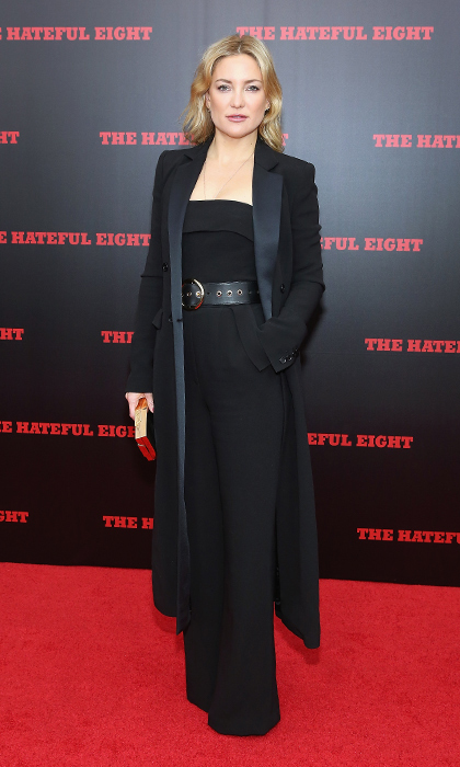 Kate Hudson was perfectly polished in head-to-toe black Elie Saab at the New York premiere of 'The Hateful Eight'.