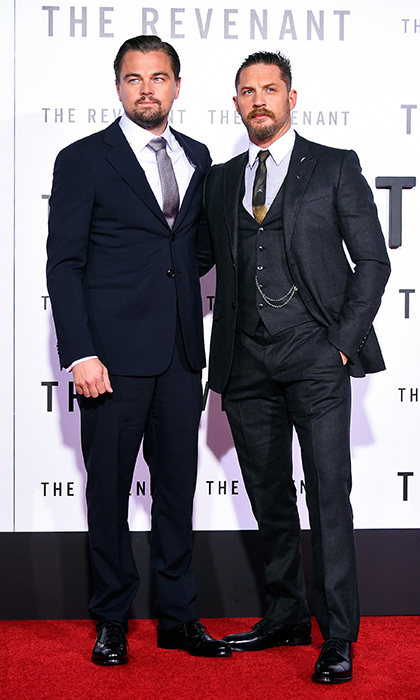 Twinning co-stars Leonardo DiCaprio and Tom Hardy are dapper in their blue suits and matching beards at the premiere of 'The Revenant' at the TCL Chinese Theatre in Los Angeles.