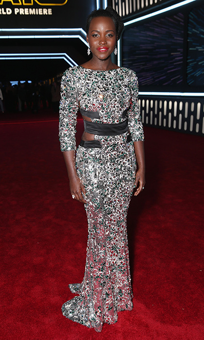 Lupita Nyong'o is exquisite in metallic Alexandre Vauthier Couture and a creamy berry lip at the 'Star Wars: The Force Awakens' premiere in Los Angeles.