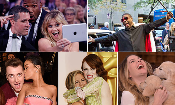 The A-list definitely knows how to mug it for the cameras, but sometimes the best snaps come when our favourite stars forget about the shutterbugs. Here, we've rounded up our absolute favourite candid shots of the year. Click through the gallery to see all the shots (warning: smile inevitable!)...