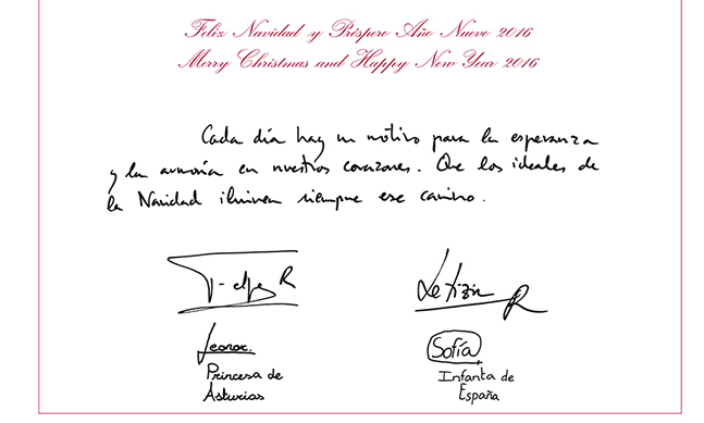 "Inside, the two sisters have proudly signed their names and titles under their parents' signatures. The message on the card reads: ""Every day we have reason to find hope and peace in our hearts. We hope that the goodwill of Christmas will always light our way.""